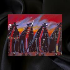 """""""Rodeo Sisters""""  Artist:  Apolonia Susana Santos 1954 to 2006  Tribe: Tygh Band, Yakama, Umpqua  Medium: Original acrylic on canvas  Year Created: 2004 #226 Friends of Red Lodge, Native American Prison Art Collection.  © Copyright R.L.T.S. / Apolonia Susana Santos Foundation  When asked about this picture, Susana stated """"traditional Native women were just as 'fashion conscious' as  the women who shop on Rodeo Drive."""