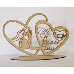 Our New Customised Wedding Silhouette Heart frames will be a great addition to any table on your special day. These wedding signs are freestanding and are cut from mdf by laser so Wooden Wedding Signs, Custom Wooden Signs, Wooden Diy, Wedding Letters, Bois Intarsia, 3d Puzzel, Laser Cutter Ideas, Carved Wood Signs, Wedding Silhouette