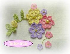 Häkelapplikationen - JuniSorbet Häkelblumen Set Häkelblümchen - ein Designerstück von Zucker-Wolle bei DaWanda