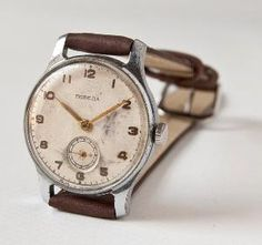 Vintage Russian watch Pobeda whitecocoa tones 50s by SovietEra
