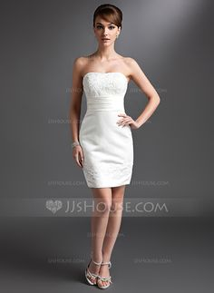 In a COLOR. Sheath Sweetheart Short/Mini Satin Mother of the Bride Dress With Lace Beading (008016380)