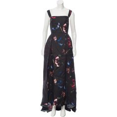 Pre-owned Elie Saab Silk Evening Dress (€2.315) ❤ liked on Polyvore featuring dresses, black, floral printed dress, pleated dress, sleeveless floral dress, floral dresses and print dress