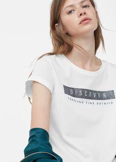 Хлопковая футболка с надписью | MANGO МАНГО