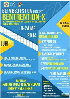 "BETA BSO FST Universitas Airlangga Present : Bentrention – X ""Beta Entrepreneurship Competition & Exhibition Untuk Mahasiswa"" 10 – 24 Mei 2014  http://eventsurabaya.net/bentrention-x-beta-entrepreneurship-competition-exhibition-untuk-mahasiswa/"