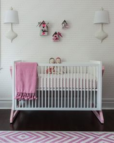 Campaign Crib from ducduc Sissy and Marley modern pink nursery crib. Photography by Marco Ricca