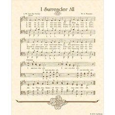 i surrender all hymn sheet music Bible Songs, Praise Songs, Worship Songs, I Surrender All, Church Songs, Church Music, Gospel Music, Music Lyrics, Hymn Art