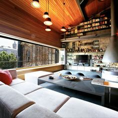 Living area and hearth in an Istanbul loft