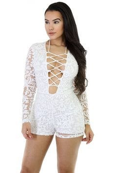 cad91b420b02 White Lace Long Sleeve Lace Up Front Playsuit MB64124-1 White Lace