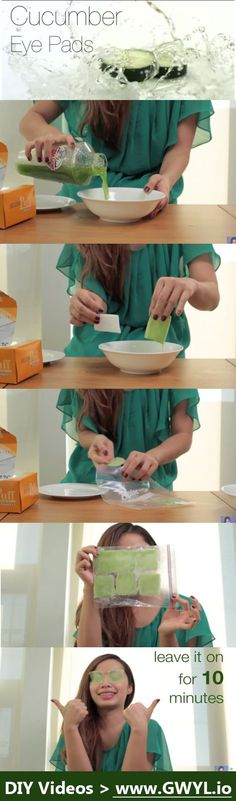 Today, instead of doing the traditional method of using fresh cucumber slices, Michelle Phan is going to spice things up a little bit! She will show us how to make cucumber pads that you can make ahead of time. They are not only effective, but they're safe and inexpensive as well! Start soothing those horrible looking tired eyes today watch the video and see the written instructions here: http://gwyl.io/say-adios-puffy-eyes-diy-cucumber-pads/