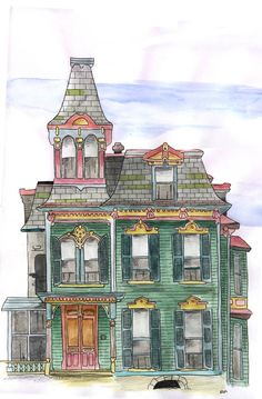 victorian house illustration