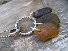 Sea Glass Necklace  Brown Green and Amber Sea by SimpleLifeDesigns, $30.00