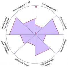 Leadership Wheel - a sample of a completed leadership wheel showing the strengths of this particular leader, and areas they may choose for development (Time Management and Influencing Others). How would you score yourself on this?