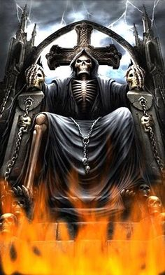 Animated Smoldering Grim Reaper | fire daydream this grim reaper sits in his throne in the animated ...