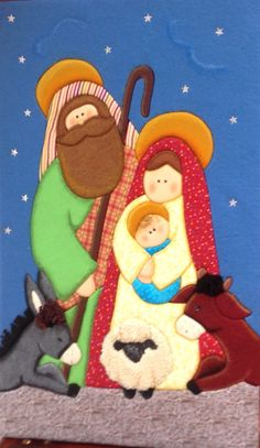 Nacimiento Nativity Crafts, Christmas Crafts, Christmas Ornaments, Christmas Door, Merry Christmas, Happy Birthday Jesus, Patchwork Designs, Sewing Crafts, Applique