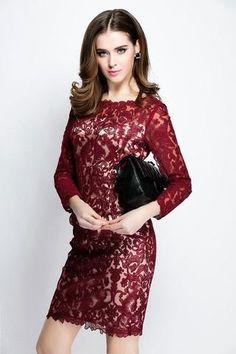ElaCentelha Brand Dress Summer Autumn Women Lace Hook Flower Hollow Out Dress Casual Full Sleeve Slim Woman Lace Office Dresses