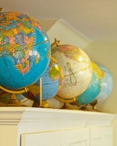 I want to do a collection of globes somewhere in my house.  Either in his big boy room, or in the new family room.