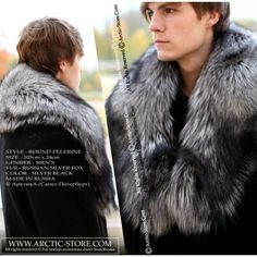 """This is a new Russian fur design. The pelerine's inverted """"V"""" shape combined with its dark and black colors is an especially masculine design. We designed the pelerine with one hook at the center and another at the ends to give you options. Use one hook at a time to preserve the shape of the fur. Our men's pelerine is made of exquisite quality Russian silver fox fur. Its thick, soft lining maintains the shape."""