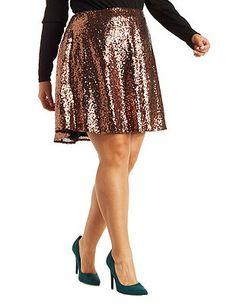 Plus Size Sequin Skater Skirt: Charlotte Russe
