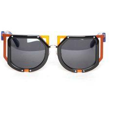 Ktz Ktz Sunglasses ($317) ❤ liked on Polyvore featuring accessories, eyewear, sunglasses, orange, orange glasses, kokon to zai and orange sunglasses