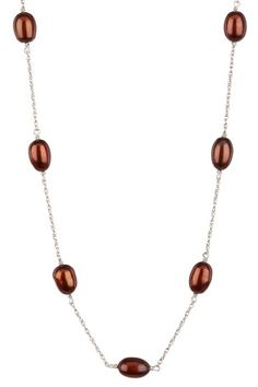 Sterling Silver 7.5-8mm Chocolate Freshwater Pearl Tincup Necklace