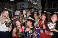 Women Laughing Alone with Salad | 31 Rad Group Costume Ideas To Steal This Halloween