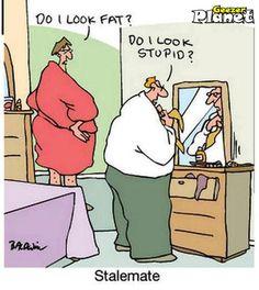 Humor In Dites & Fitness Funny Marriage Do I Look Fat Cartoon Funny Jokes, Funny Stuff, Funny Sarcastic, Funny Sayings, Memes Humor, Fat Humor, Funny Cartoons, Funny Comics, Jokes