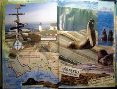 Day 2, 2013 #30DOC, @createstuff Ano Nuevo and Pt. Montara (revised) Art Journal spread