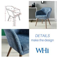 Minto Accent/Dining Chair in Blue Blend - Accent Chairs - Accent Seating - Products Separates, Pay Attention, Home Accents, Catalog, Accent Chairs, Dining Chairs, Detail, Blue, Beautiful