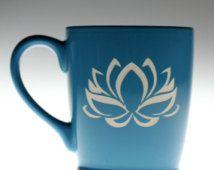Lotus Etched Ceramic Coffee Mug, coffee gift, tea gift, tea mug, coworker gift,yoga gift