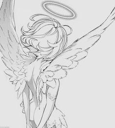 cute drawings of love Art Drawings Sketches, Cute Drawings, Angel Wings Drawing, Character Art, Character Design, Art Et Illustration, Drawing Base, Drawing Tips, Art Poses