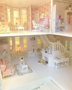 🌸Adding things to this Pink house, I'm making lamp shades and painting furniture and sewing while I wait on items to come in the mail… Pink Dollhouse, Modern Dollhouse, Dollhouse Dolls, Dollhouse Miniatures, Victorian Dolls, Victorian Dollhouse, Miniature Rooms, Miniature Houses, Barbie Furniture