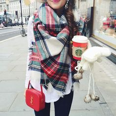 What I wore to explore London (in search of plug converters ) this morning! This blanket scarf is absolutely perfect for the holidays & it's only $33 ❤️ Get it here: www.liketk.it/1Xldt #liketkit #whatiwore #blanketscarf #ysl #ootd #london #starbucks #winterfashion