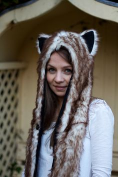 New Animal Snood Hood Arctic Fox Faux Fur Hat with by ak4solutions, $27.00