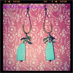 Turquoise stone with sparrow charm drop earrings