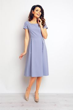 Light blue midi dress with side box pleats