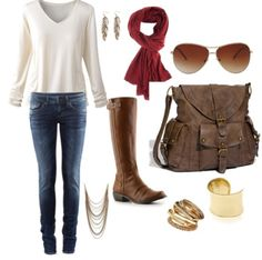 Simple fall outfit : scarf : long boots :