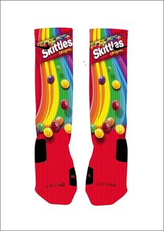 Custom Skittles Candy Socks Custom Nike Elite by NikkisNameGifts . Funky Socks, Crazy Socks, Cool Socks, Awesome Socks, Colorful Socks, Nike Elite Socks, Nike Socks, Nike Outfits, Funny Outfits