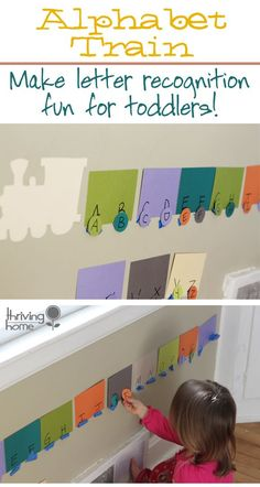 Alphabet train // this would be good to sew with felt and Velcro to re-use as a carpet activity