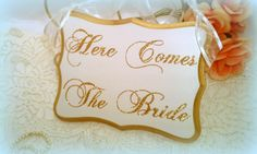 Wedding Sign SPARKLY Gold Wedding Decoration Here Comes The Bride Sign Fairytale Weddings, Princess Wedding, Cinderella Wedding