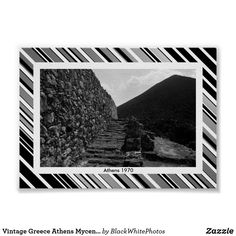 Vintage Greece Athens Mycenae royal stairs Poster