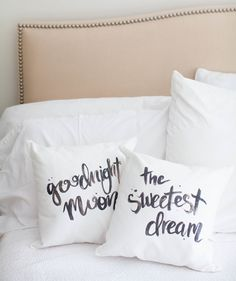 Upgrade your pillows with these iron-on quotes.