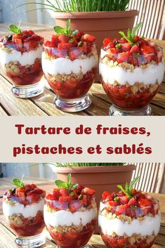 Strawberry, pistachio and shortbread tartare – Page 2 – Recipes Of The World - Modern Oreo Dessert, Dessert Table, Frozen Desserts, Summer Desserts, Healthy Christmas Recipes, Dressing For Fruit Salad, French Dessert Recipes, Mousse, Comfort Food