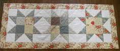 Fall Autumn Quilted Table Runner Patchwork Stars in Teal, Cream and Brown.