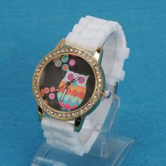 Stretch white diamond decorated owl pattern design alloy Ladies Watches  US$ 2.63