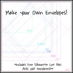 Make your own envelopes! Tutorial and free cut file via Please Excuse My Craftermath. Perfect for odd shaped birthday party invitations. Silhouette Cameo Files, Silhouette Cutter, Silhouette Cameo Projects, Free Silhouette, Silhouette Studio, How To Make An Envelope, Diy Envelope, Envelope Templates, Envelope Sizes