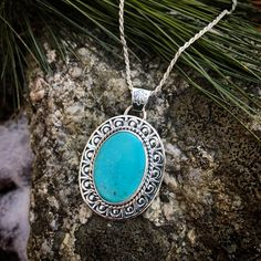 """Turquoise medallion necklace set in Sterling silver! Comes with 18"""" rope chain! by lisajdesigns on Etsy https://www.etsy.com/listing/493823464/turquoise-medallion-necklace-set-in"""