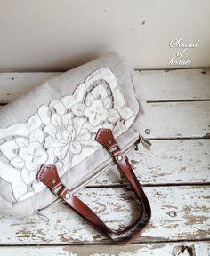 Linen & crochet lace leather bag mori girl handmade by SoundOfHome, $59.50