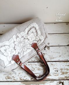 Linen  crochet lace leather bag mori girl handmade by SoundOfHome, $59.50