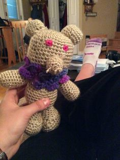Very creepy first amigurumi creation with scarf and tail