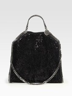 Stella McCartney Velvet & Sequins Shaggy FoldOver Shoulder Bag